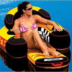 "Sportsstuff - Siesta Lounge Raft - Take a snooze, and find your place in the sun on the Siesta Lounge. Hang your feet in the water and cool off, or fold out to extend your legs for complete relaxation! Includes cup holders for two of your favorite beverages, and plenty of storage for your sun tan lotion and other necessities. You'll feel like royalty in this comfortable tube! Features: -Heavy-gauge PVC bladder -Durable nylon full cover -Inflatable backrest -Zippered storage compartments -2 Cupholders -Folding, inflatable footrest -Handles for easy transportation Specifications: -Inflated Length: 68"" -Inflated Width: 40"""