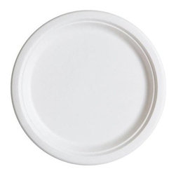 Renewable And Compostable Sugarcane Dinner Plates - 10 Inch - Case Of 500 - 10 inch Round Sugarcane Plate