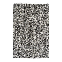 Colonial Mills, Inc. - Indoor/Outdoor Catalina, Blacktop Rug, Sample Swatch - Contrasting black and white braided fibers give this casual indoor/outdoor rug some contemporary chic. It likes simple, modern color schemes, and would look great in your contemporary black and neutral kitchen or on your pool deck next to tropical brights.