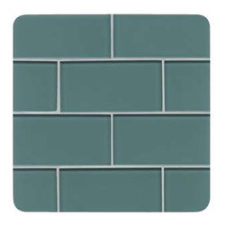 "Design For Less - Denim Subway Backsplash Tile - This inviting Denim Glass Subway Tile has a unique medium gray-green color that doesn't exactly capture the name. The backing reflecting through the natural hue of glass is what provides the deep brilliance of this stunning glass subway tile. Perfect for brightening any space, this is the ideal tile for a backsplash, kitchen tile or bathroom tile. This glass tile is an 8mm or 1/3"" thick glass tile with a polypropylene backing for maximum color continuity and radiance.Each piece is 3x6 and there are 8 pieces per square foot. Price is per SQUARE FOOT."