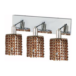 "PWG Lighting / Lighting By Pecaso - Wiatt 3-Light 14.5"" Crystal Vanity Fixture 1091W-O-R-TO-SS - Whether shown individually or as a collection, our Mini Crystal Chandeliers are stunning in any fashion. This stylish collection offers stunning crystal in a range of colorful options to suit every decor."