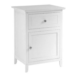 "Winsome - ""Winsome Wood Night Stand/Accent Table with Drawer & Cabinet, White"" - ""Night Stand with simple design and plenty of storage include one drawer and cabinet. Satin Nickel knob. Available in four finishes. Ready to Assemble.Dimensions (W x L x H): 14.96"""" x 18.9"""" x 25""""Weight: 18 lbs.Wood night stand finished in whiteDrawer and door with pull for storageSturdy constructionTraditional stylingEasy to assemble with parts and tools included"""