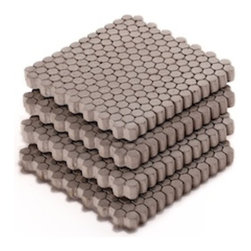 Culinarium - Concrete Coasters, Small Gray Hexagon, Set of 4 - The hexagonal pattern on these coasters serve as a conduit to wick condensation away from the bottom of a wet glass.