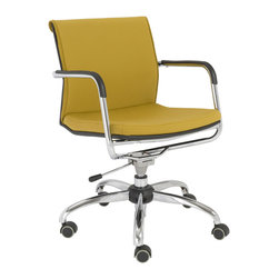 Eurostyle - Eurostyle Baird Office Chair in Mustard Yellow & Chrome - Office Chair in Mustard Yellow & Chrome belongs to Baird Collection by Eurostyle 80% polyester/20% cotton fabric over foam seat and back. Chromed steel five-star base. Polypropylene over chromed steel armrests. Swivel gas lift and nylon casters. SW: 20 SD: 18.5 SH: 17.75-20 Soft easy-to-clean fabric. BIFMA approved components. Adjustable height. Height: 34.5. Width: 21. Office Chair (1)