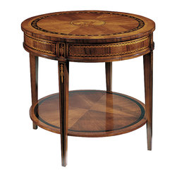 "Inviting Home - Louis XVI Style Inlaid Table - Louis XVI style two-tier inlaid table 29-3/4""W x 29-3/4""D x 26""H hand-made in Italy Louis XVI style round two-tier table with walnut veneer. Louis XVI table inlaid with ebony and many other woods. The inlaid design in the center of the table top features two classical figures. The ebony border on the top has an inlaid floral motif. This table is hand-crafted in Italy."