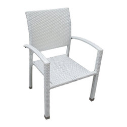 Modway Furniture - Modway Bella Dining Armchair in White - Dining Armchair in White belongs to Bella Collection by Modway Relax in confidence, as you effortlessly unite diverse forces to take center stage. Wealth and success surround you and draw attention to greater heights. This outdoor wicker dining chair has a sturdy aluminum frame covered with an espresso rattan weave. Set Includes: One - Bella Outdoor Wicker Patio Dining Chair Patio Armchair (1)