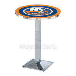 Holland Bar Stool - Holland Bar Stool L217 - Chrome New York Islanders Pub Table - L217 - Chrome New York Islanders Pub Table  belongs to NHL Collection by Holland Bar Stool Made for the ultimate sports fan, impress your buddies with this knockout from Holland Bar Stool. This L217 New York Islanders table with square base provides a commercial quality piece to for your Man Cave. You can't find a higher quality logo table on the market. The plating grade steel used to build the frame ensures it will withstand the abuse of the rowdiest of friends for years to come. The structure is triple chrome plated to ensure a rich, sleek, long lasting finish. If you're finishing your bar or game room, do it right with a table from Holland Bar Stool.  Pub Table (1)