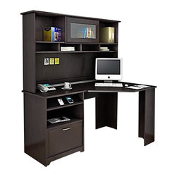 """Bush - Bush Cabot Corner Computer Desk with Hutch in Espresso Oak - Bush - Computer Desks - WC3181503PKG1 -The Bush Cabot Collection Corner Desk is the perfect solution for the tech-savvy office. The desk is designed to offer a wide-open 60"""" of work space with everything you'll need to stay connected and clutter-free, including a charging station, an open cubby that doubles as a bookshelf or modem storage area, a filing drawer, and wire management system. Designed for years of use, the Cabot Corner Desk features full-extension ball-bearing drawer slides and a beautiful, durable Espresso Oak finish."""