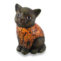Sitting Cat Crackled Amber Glass Art Accent Lamp - With a deep antique bronze finish, this adorable kitty will light up your evening with a precious glow! Made of cast resin, the body is comprised of crackled amber glass pieces that allow the light to shine through to softly illuminate your entryway or bedroom, and is a fun accent in an office, and shimmers even when not lit! Measuring 6.5 inches (17 cm) high, 4.5 inches (11 cm) long and 3.5 inches (9 cm) wide, it has a 64 inch long black cord with an in-line thumb-switch to easily turn it on or off, and foam pieces on the bottom to help protect display surfaces. This fun feline accent lamp makes a great gift to yourself, or for your favorite cat fancier!