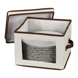 """Household Essentials - Dinner Plate Chest - Protect your fine china and know exactly which piece and pattern you have with these Window Vision® China/Crystal Storage Chests.  These strong and durable boxes are attractively covered in cream-colored poly/cotton canvas with brown trim.  Each chest is equipped with felt protectors or cardboard dividers to safely store a service for 12 so your fine pieces do not emerged cracked or broken.  With riveted handles able to support up to 25 lbs. you can confidently tuck your fine china away and pull it out for festive presentations or . . . just because.  Enjoy the finer things in life and care for them well. Details:Strong and durable boxes are attractively covered in cream-colored polyester canvas with brown trim.  Windows in the boxfronts allows contents inside to be seen.  Each chest comes with felt protectors or cardboard dividers to store a service for 12.  Riveted handles support weight up to 25lbs. Height: 8.5""""Width: 12""""Depth: 12"""""""