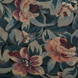 """Rousseau French Upholstery Fabric in Blue and Red - Rousseau French Upholstery Fabric in Blue and Red is a hearty floral fabric made in France from 100% cotton. This tightly woven fabric is classic yet unique, perfect for upholstering accent chairs or throw pillows. Width: 50""""; Repeat: L:24"""""""