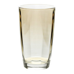 """Vietri - Vietri Optical Set of 4 High Ball Crystal Glasses 5.5""""H, 14 oz, Amber - The cool and sophisticated look of our clear high ball glass from our Optical drinkware collection will add elegance to your tablesetting. Use it for iced tea, mixed cocktails or lemonade. Handcrafted in Naples, Italy and dishwasher safe!"""
