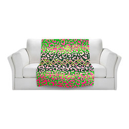 DiaNoche Designs - Fleece Throw Blanket by Julia Di Sano - Leopard Trail Pink Green - Original Artwork printed to an ultra soft fleece Blanket for a unique look and feel of your living room couch or bedroom space.  DiaNoche Designs uses images from artists all over the world to create Illuminated art, Canvas Art, Sheets, Pillows, Duvets, Blankets and many other items that you can print to.  Every purchase supports an artist!