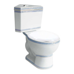 Renovators Supply - Corner Toilets White/Cobalt Round Dual Flush Corner Toilet | 17676 - Corner Dual Flush Toilets White & Cobalt 24k Gold Trim: By using Dual Flush technology the EPA estimates homeowners save up to 25-000 gal. of water a year. How? Use 0.8 LOW flush for liquids & 1.6 HIGH flush for solid waste. Control your water usage to SAVE money & conserve water. Our G-Force high efficiency flush system technology let?s you flush only ONCE! Eliminate the need to double flush. Ergonomic Perfect Height & round bowl makes using it safe & puts less strain on your body. Includes plastic toilet seat & EASY TOP flush plastic faux chrome button. 29 in. H x 12 in. along wall x 30 in. overall proj. from tank corner to bowl edge.