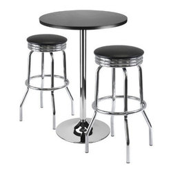 Winsome Wood - Summit Bar Table with 2 Stools, Set of 3 - Our Summit Bar Table that comes in a set of 3, includes 1 Round Black Table Top and 2 Swivel Stools with metal legs and PVC seats.