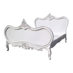 Emily French Carved Bed in White, King - Add some french Style to your Bedroom with this beautiful Handmade Bed. Solid mahogany wood in white finish. Beautiful hand carvings shown. Available in Queen and King Size.