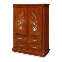 China Furniture and Arts - Rosewood French Pearl Inlaid High Chest - Inspired by 18th century French style, this high chest is made of solid rosewood and beautifully handcrafted with skillful joinery technique for long lasting durability. Decorated with hand-inlaid mother of pearl flowers on the doors and drawers. It is as pleasant to look at and as practical to use. Hand applied natural finish enhances the beauty of the woods grain. Two removable shelves behind the doors for your storage convenience.