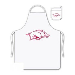 Sports Coverage - Arkansas Razorbacks Tailgate Apron and Mitt Set - Set includes your favorite collegiate Arkansas University Razorbacks screen printed logo apron and insulated cooking mitt. White apron with white silver backed mitt. Both items are logoed. Tailgate Kit apron and mit is 100% cotton twill with screenprinted logo.