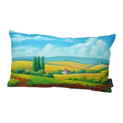 Poppy Field 14X20 Pillow (Indoor/Outdoor) - 100% polyester cover and fill.  Suitable for use indoors or out.  Made in USA.  Spot Clean only