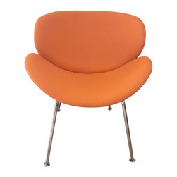 "Orange Slice Chair, Orange Fabric - A chair should be more than simply functional. It should be friendly, fun and colorful."" The Orange Slice Chair, originally designed in 1960, is a timeless piece that still looks fresh today. Anyone who sees several Slice chairs together cannot fail to be touched by the playfulness of the composition.The Slice Chair is one of the most recognizable designs, and has the unique characteristic of showing several phases of ""curl up"" when viewed from different visual angles.  In fact, the chair seems to change shape every time you look at it."