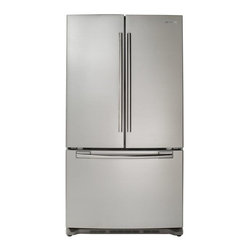 French Door Stainless Steel Refrigerator - This is nice looking unit in stainless which isn't a built in, as evidenced by the price. Perfect if you can work a non-built in into your kitchen plans.