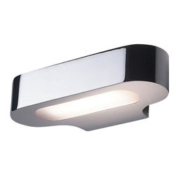 """Artemide - Artemide Talo mini wall sconce HAL - Product Details:   The Talo mini wall sconce from Artemide has been designed by Neil Poulton. This wall mounted luminaire is great for halogen lighting. The Talo mini is composed of die-cast aluminum in white, silver-grey, polished chrome or satined chrome finish. The fluorescent model's upper and lower diffusers are made of opaline molded polycarbonate, and the halogen model's upper and lower diffusers are in borosilicate shatterguard glass. The Talo mini wall sconce offers practicality as well as a sleek contemporary design that will resignate brilliantly in any atmosphere. UL listed.   Details:     Manufacturer:  Artemide   Designer:  Neil Poulton     Made in: Italy   Dimensions:   Extends from Wall: 4"""" (10cm) X Width: 8.25"""" (21cm)      Light bulb:   1 X 150W halogen     Material:  aluminum, polycarbonate, borosilicate glass"""