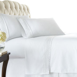 Southshore Fine Linens, Inc. - Aspen Lace - Sheet Sets - 4 PC, Bright White, King - Made with high strength microfiber yarns these shrinkage-free sheets are decorated with a beautiful lace. Double brushed for extra softness, these sheets feature a 110 GSM microfiber fabric to ensure a cozy feeling.