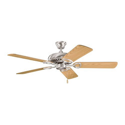 """BUILDER FANS - BUILDER FANS Sutter Place 52"""" Transitional Ceiling Fan X-SSB110933 - This Kichler Lighting ceiling fan from the Sutter Place Collection features soft curves that are highlighted by a crisp Brushed Stainless Steel finish and complimented by the reversible oak fan blades."""