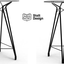 Kubikoff - Diamond Bar Table, Clear Glass Top, Black Lacquered Metal Base - Diamond Bar Table