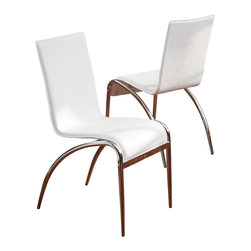 Great Deal Furniture - Aude White Modern Chairs (Set of 2) - Mid-century modern curves and stark white PVC upholstery, make this pair of dining chairs a thing of Jetsonian proportions! They're sleek enough to employ as dining chairs, but comfortable enough to use as office chairs.