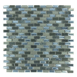 "Euro Glass - Porcello Dusty Faun  1/2"" x 1"" Black Brick Series Glossy Stone & Porcelain - Sheet size:  11 1/2"" x 11 1/2""   Tile Size:  3/8"" - 1/2"" x 1""   Tiles per sheet:  242    Tile thickness:  1/4""   Grout Joints:  1/8""   Sheet Mount:  Mesh Backed     Sold by the sheet    -"