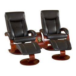 """Mac Motion Chairs - Mac Motion Double Merlot Swivel Recliner Set in Black Leather - This high quality Norwegian design chair with matching ottoman comes from our popular """"Oslo Collection"""" and consists of selective hardwoods, bent arm frame complimented by wrap around seat and back cushion with adjustable headrest attached. Features include adjustable reclining back, which is personalized by one single handle to any position. Matched to contoured angled ottoman to complete the therapy seating of full body personalized comfort. All """"Oslo Collection"""" models include """"MX-2"""" memory foam, with 1"""" over the top of the solid cored foam seating for support and long lasting comfort. This model is covered in """"Top-Grain"""" leather everywhere you touch in a sleek """"Black"""" color to match the """"Merlot"""" wood finish frame. Complemented by the Theater Table. Which includes features such as storage, 110 volt electrical outlets and beverage holder. This combination is surely one of our best sellers."""