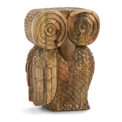 Ora Stool - With the feel of an artifact rather than a furnishing, but providing beautiful functionality to your space, the Ora Stool contributes a mythic effect to neo-Classical or Tuscan room and in any theme, suggests the air a faraway find crafted generations ago.  The oversized wooden owl is as much a sculpture as a seat or occasional table, making it perfect for small bedrooms and spacious living rooms alike.