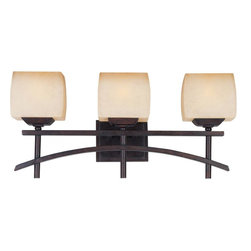Joshua Marshal - Three Light Wilshire Glass Roasted Chestnut Vanity - Three Light Wilshire Glass Roasted Chestnut Vanity