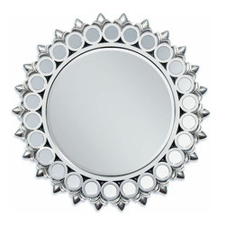 "ACMACM97057 - Silver Finish Sunburst Geometric Circles Design Hanging Wall Mirror - Silver finish sunburst geometric circles design hanging wall mirror. Measures 40"" dia."