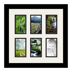 ArtToFrames - ArtToFrames Collage Photo Frame  with 6 - 3x5 Openings - This classic Satin Black, 1.25 inch wide collage frame, presents a multiple opening display for 6 - 3x5 pictures of your choice. This collage is part of a vast collage frame compilation and boasts an ample line of carefully constructed frames at a affordable price tag you can gloat about! Handmade and formed to showcase your pictures making sure you 6 - 3x5 art will fit exactly so. Bordered in a vivid prominent Satin Black, sophisticated frame and accompanied by a contemporary Super White mat, the collage arrangement most definitely highlights your very own prized artwork, and wonderful memories in an entirely unique and fun way. This collage frame comes protected in Regular Glass, handy with appropriate hardware and can be presented in the blink of an eye. These superior quality and authentic wood-based collage frames vary in design and dimension; all in contemporary and modern design. Mats are available in a bevy of color tones, spaces, and shapes. It's time to tell your story! Preserving your displaying your memories in an original and imaginative contemporary way has never been easier.