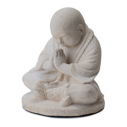 Repose Home - Bowing Monk, Natural White - Welcoming all who enter your home or garden, this young monk is depicted with traditional clothing and footwear wearing a beaded mala around his neck. Cast in elegant, stone washed volcanic ash and weatherproofed for indoor or outdoor use.