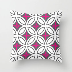 Tangier Tiles Pillow Cover in Magenta - Evoke the riot of design and color that is northern Morocco in this cheery, graphic pillow cover! With a bold pattern in gray with punches of bright color, it's just as good at fitting in as it is at standing out.