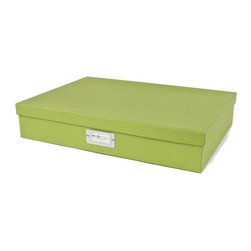 Bigso - Bigso Basix Document Box - Green, Large - We're not only stacking jewelry this season. Stack up storage and mix and match colors with our green Basix Document boxes. Store legal size paper, thank you notes, labels, stamps, receipts and artwork. Metal label holders remind you of what's stored inside.