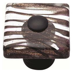 Atlas Homewares - Atlas 3205-O Glass Milky Way 1 1/2-Inch Square Door Knob Rubbed Bronze - Atlas 3205-O Glass Milky Way 1 1/2-Inch Square Door Knob Rubbed Bronze