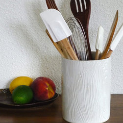 Faux Bois Stoneware Utensil Holder or Large Vase by Jade Flower - This faux bois utensil holder will bring the perfect woodsy feel to your kitchen. I'm envisioning it as a wildflower vase too.