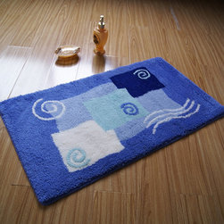 Top Grade Rectangular non-slip Blue Bath Mat Rug - This rug features an attractive pattern that traps moisture and dirt. The Square layout design has a rich look and feel, and extraordinary texture offers warms, comfort, and versatility. The rear side of the product is covered by natural latex to prevent slipping. Suitable for your living room, bedroom, bathroom and the office. Machine washable and easy to clean. This stylish rug is sure to add a touch of whimsy to any room in your home.