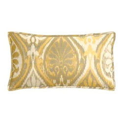 """Cushion Source - Sunbrella Aura Honey Outdoor Lumbar Pillow - The 20"""" x 12"""" Sunbrella Aura Honey Outdoor Lumbar Pillow features a globally-inspired ikat print in shades of yellow and soft gray."""