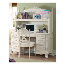 Homelegance Cinderella Girl Wood Bookcase Hutch Desk Chair Set Student - The Cinderella Collection is your little girl's dream. The Victorian styling incorporates floral motif hardware, antique ecru finish and traditional carving details that will create the feeling of a room worth of a fairy tale princess. Also available in dark cherry finish.