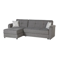 Istikbal - Vision Diego Gray Sectional Sofa - Covered in a warm Diego gray color fabric, this transitional Vision Diego Gray Sectional Sofa is perfect for everyday use. The soft and relaxing, the Vision Collection is ready to create a warm and inviting feeling in your living room. Eye-catching stitching accentuates a tufted appearance. The irresistible Vision is made to enjoy the practical functions. Minimal assembly required to secure pieces together.