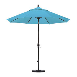 California Umbrella - California Umbrella Patio Umbrellas 9 ft. Aluminum Collar Tilt Patio Umbrella - Shop for Outdoor Patio Furniture at The Home Depot. Designed for convenience value and performance California Umbrella products bring the full weight of our design experience to your table. California Umbrella pioneered and developed the original and revolutionary Collar Tilt feature to tilt your umbrella to any degree you wish while you enjoy the afternoon and evening outside. We still boast the widest tilt degree in the Market allowing you to stay outside longer with your family and friends. Olefin fabrics are an excellent fabric choice for customers looking to shade their space on a budget without sacrificing quality. Made with high durability synthetic Olefin fibers Olefin fabrics offer improved fade resistance over lesser grade fabric materials like polyester and cotton without the added expense of acrylic canvas. Olefin fabrics are a strong value so with some basic care they can give you several years of enjoyment. Olefin color selections match up perfectly with all the most popular colors on the market so your shade solution is beautiful without breaking the budget. Color: Bronze.