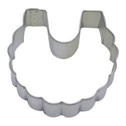 RM - Baby Bib 3 In. B0930 - Baby Bib cookie cutter, made of sturdy tin, Size 3 in., Depth 7/8 in., Color silver