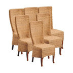 EuroLux Home - New Set 6 Abaca Dining Chairs Teak Wood - Product Details