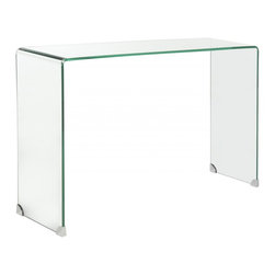 Safavieh - Ambler Console Table - The epitome of minimalist chic, the classic Ambler console table is artfully formed from a single piece of tempered glass. Whether dressed up with accessories, or left unadorned as a sculptural form, its clear glass silhouette appears to float in a room.