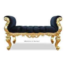 Fabulous & Baroque - Fabulous and Baroque's Absolom Roche Bench - Feast your eyes upon the decadence and true luxury of Fabulous & Baroque's ultimate collection of furniture! Exclusive to Fabulous & Baroque, this striking Absolom Roche bench defines opulence! Created to make a statement, this regal bench invites you to hold court in its divine hand carved curves. Finished gold leaf and upholstered in luxurious crushed black velvet, this bench is a stylish compliment to any bedroom, entry or any place you see fit!